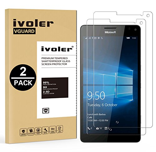 iVoler [2 Stücke] Panzerglas Schutzfolie für Microsoft Lumia 950XL / Microsoft Lumia 950 XL [9H Härte] [Anti- Kratzer] [Bläschenfrei] [2.5D R&e Kante]