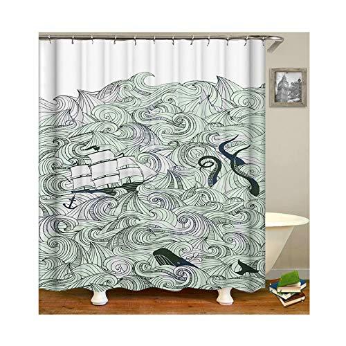 Amody Wellen & Boote Duschvorhang waschbar wasserdichtem Polyester Duschvorhänge Bad Vorhänge mit Haken für Badezimmer Größe 90X180CM