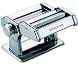 Ovente Manual Stainless Steel Pasta Maker Machine and 7 Thickness Setting (0.5 to 3 mm), Easy Cleaning & Storage with Attachments of Hand Crank Roller Noodle Cutter & Countertop Clamp, Silver PA515S