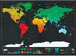 Scratch Off World Map for Home Décor and Travel, Deluxe Wall Art Poster and Wall Sticker, Large Size (82.5 * 59.4cm), Black