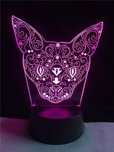 (Solo 1) Novedad flor forma de cabeza de gato iluminación 3D LED USB humor luz nocturna cambio multicolor lámpara de mesa pequeña regalo para niños decoración de regalo de cumpleaños
