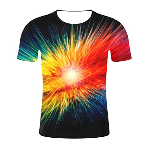 Tyoby Herren T-Shirt Druck Kurzärmliges Oberteil 3D Rundhals Persönlichkeit Hipster Top(Marine,XXL)