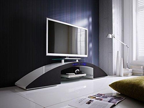 123wohndesign TV-lowboard, TV-Board, TV-Tisch, Lowboard Sunset, Hochglanz Weiss mit Bluetooth