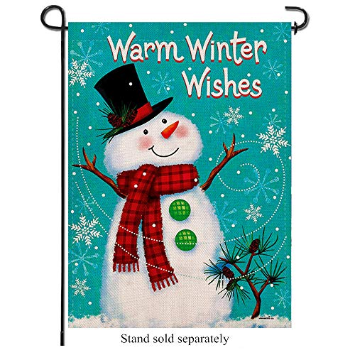 Artofy Warm Winter Wishes Decorative Garden Flag, Snowman with Scarf Hat Snowflakes Outdoor Flag, Winter House Yard Burlap Garden Flag Holiday Outside Decorations Rustic Home Decor Flag 12 x 18