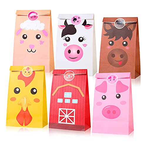 18 Pack Farm Animal Party Bags Barnyard Party Favor Candy Goody Treat Bags with Stickers for Kids Farm Theme Birthday Baby Shower Decoration Supplies