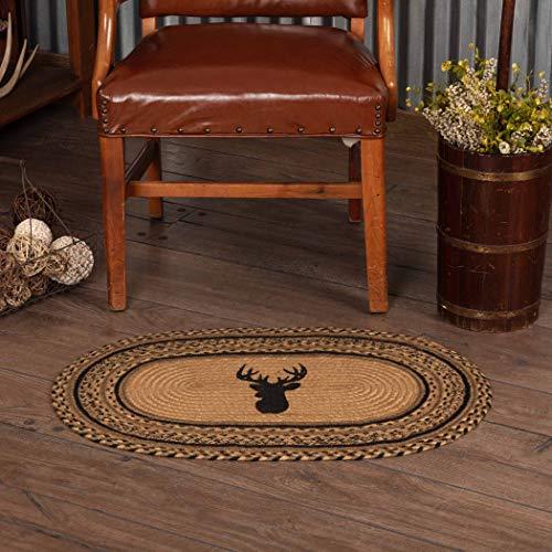 VHC Brands 10713 Rustic & Lodge - Tea Flotante (Ovalada, Yute), Color Verde, marrón, 1'8' x 2'6'