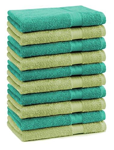 Betz Lot de 10 Serviettes débarbouillettes lavettes Taille 30x30 cm en 100% Coton Premium Couleur Vert émeraude et Vert Pomme