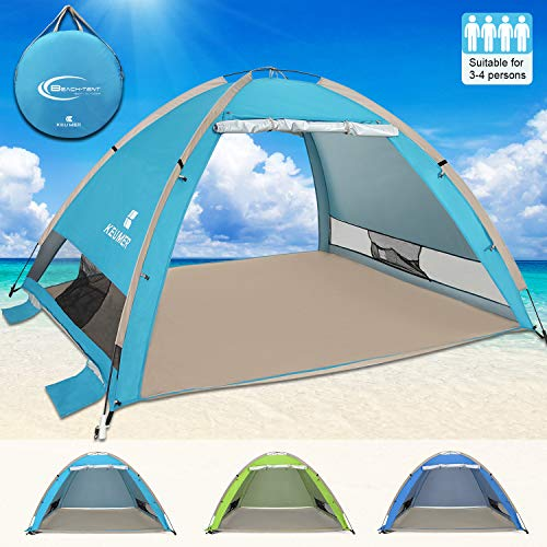 G4Free Large Pop Up Beach Tent 4-5 Person Sun Shelter Portable Automatic Cabana UPF 50+ Anti UV Sun Shade (Pink)