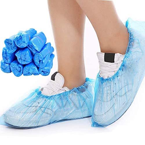 Schuhüberzieher Einweg,BESTZY 100 Stück Einweg Überschuhe Kunststoff für Teppich Anti-Dirty und Outdoor Schuhschutz (Blau)