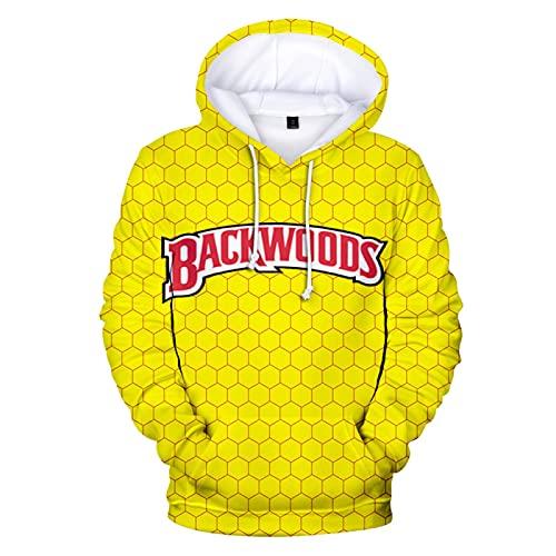 N\C Moda Casual Suelta De Primavera Y Otoño para Hombres con Cordón Backwoods Smoke 3D Suéter con Capucha De Impresión Digital S