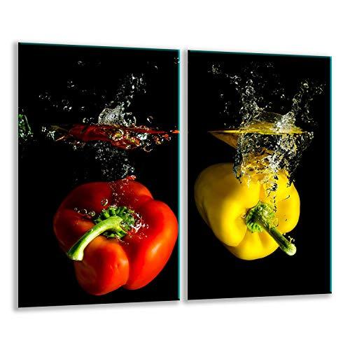 QTA   Herdabdeckplatten Set 2x30x52 cm Ceranfeld Abdeckung Glas Spritzschutz Abdeckplatte Glasplatte Herd Ceranfeldabdeckung Schwarz Rot Paprika