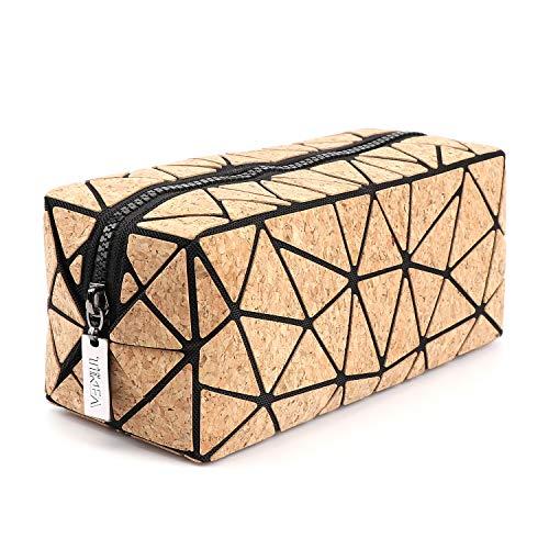 Tikea Schminktasche - Kosmetische Klein Make up Tasche, Kosmetikkoffer Geometrische Make up Handtasche Mädchen, Kork Make-Up Clutches