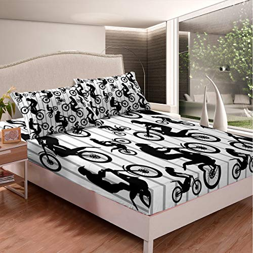 Feelyou 3D Dirt Bike Bedding Set Boys Teens Extreme Sport Fitted Sheet Kids Youth Motocross Rider Bed Sheet Set Motorcycle Stripe Bed Cover,Bedding Collection 2Pcs Sheets Twin Size