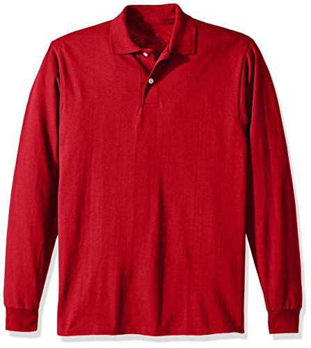 Jerzees Men's SpotShield Stain Resistant Polo Shirts (Short & Long, Long Sleeve-True Red, Small