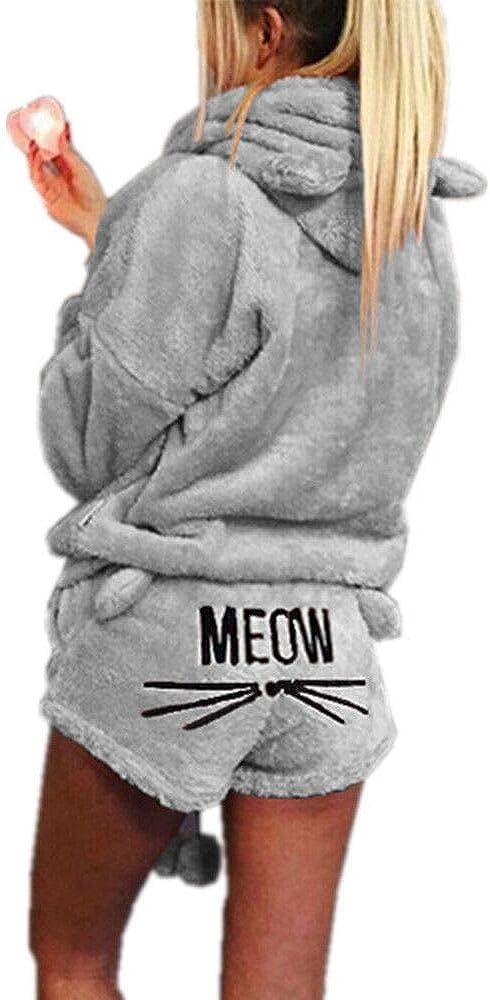 Missfamo Ladies Cute Sleepwear Fleece Hooded Cozy Sherpa Romper Fluffy 2Pcs Pj Short Set