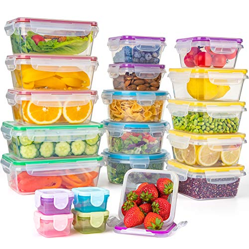 Food Storage Containers with Lids, [20 Pack] Plastic Food Containers Set Leak Proof & BPA-Free Reusable Lunch Boxes Microwave, Freezer, Dishwasher Safe