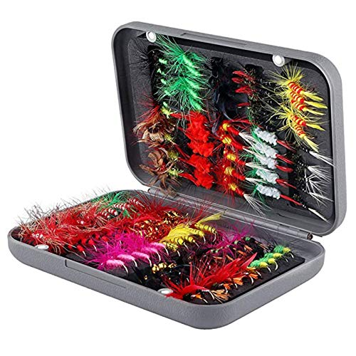 SupsShop Fliegen-Köder-Set, 100 Stück, handgefertigt, Nymphe, Emerger, Köderhaken für Barsch, Forellen, Lachs, mit wasserdichter Fliegenbox
