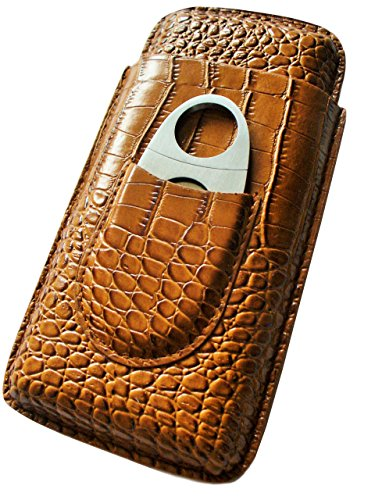 Cigar Case Travel - Cutter Included - Leather 3 Colors (Light Brown)