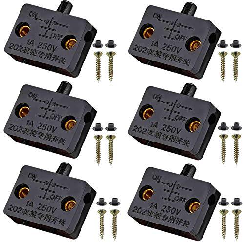VISSQH 6Pcs Interruptor para Armarios,Empuje de superficie Interruptor de contacto para puerta de mueble Iluminación Interruptor automático 1A 250V la luz de puerta del interruptor del empuje negro