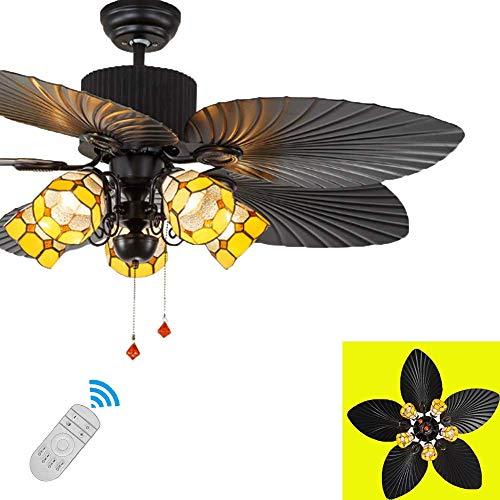 N / A época ratán Efecto Ventilador de Techo se Enciende E27 5 Luces con la luz, la luz de la lámpara Ventilador de Techo de con el Interruptor y remotas Ventanas en la Mano Abat