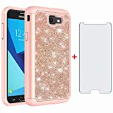 Phone Case for Samsung Galaxy J7 Prime 2017 J 7 Skypro Sky Pro J7V V S727VL with Tempered Glass Screen Protector Cover Bling Glitter Slim Cell Accessories Glaxay Halo 7J Perx J7prime Women Girls Pink