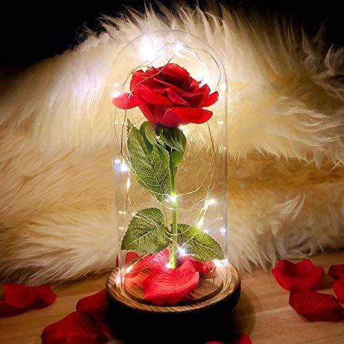 Rosa de seda roja encantada en cúpula de cristal con luz LED, kit de rosas románticas, para los mejores regalos Día de San Valentín, novia, aniversario de boda y cumpleaños