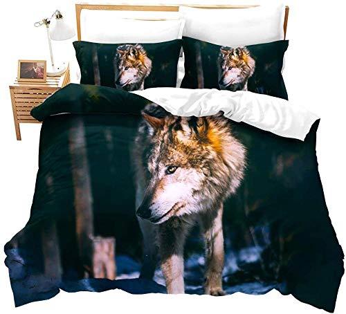 dsgsd Funda nórdica de algodón 100% poliéster suave Bosque árboles animales lobo paisaje 220x220cm juego de cama funda nórdica impresa ropa de cama para niños microfibra de tres piezas textiles para e