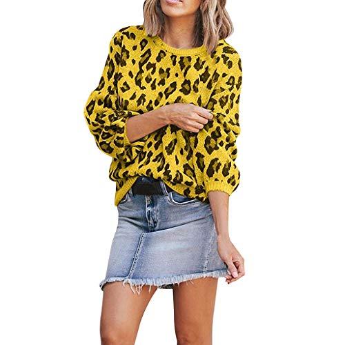 Reooly Leopard Moda para Mujer Otoño Invierno Casual O-Cuello Suéter de Punto Top de Manga Larga