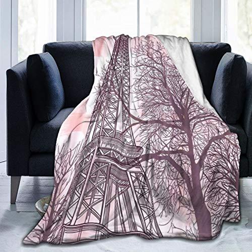 QIUTIANXIU Mantas para Sofás de Franela 150x200cm Torre Eiffel Manta para Cama Extra Suave