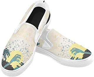 Womens Canvas Tennis Shoes Zombie Hand Coming Out of His Grave Canvas Slip-on Casual Printing Comfortable Low Top Cartoon Canvas Shoes