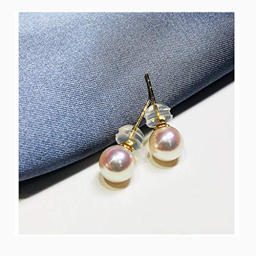 Aretes para mujer Pendientes de perlas de agua dulce de la perla del oído pendientes de los anillos de oro de 18 quilates de 4,5 mm-9mm regalos for las mujeres blancas de rosa Elegante Pendientes