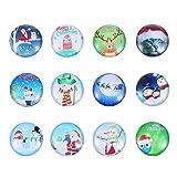 FRCOLOR 12Pcs Imanes de Nevera de Vidrio de Navidad Redondos de Santa Reno Pegatinas de Refrigerador Imanes de Pizarra de Cristal Decoración de Refrigerador de Navidad (Al Azar)
