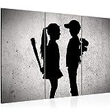 decoración de la mesa niño pared Banksy conoce a una chica - 120 x 80 cm Vista de impresión en lienzo Salón Apartamento - listo para colgar - 302131a