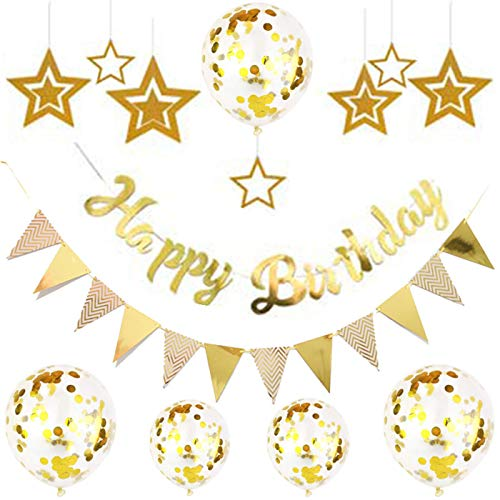 rosepartyh Gold Birthday Decorations Gold Happy Birthday Banner Gold Birthday Balloons Gold Birthday Party Decorations Gold Latex Confetti Balloons