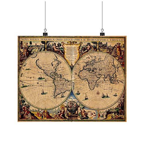 Ancient World Map, World Map 17th Century Art A0 A1 A2 A3 A4 Poster de fotos satinado p11664h