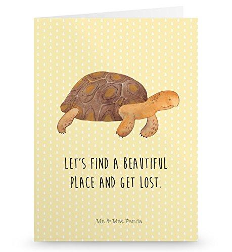 Mr. & Mrs. Panda Einladungskarte, Glückwunschkarte, Grußkarte Schildkröte marschiert mit Spruch - Farbe Gelb Pastell