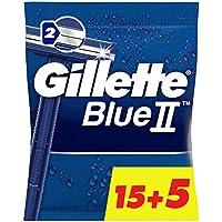 Gillette BlueII Maquinillas desechables para hombre, dos hojas de afeitar, cabezal fijo - Pack de 15+5