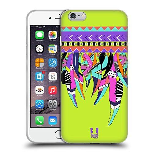Head Case Designs Azteco Piume Neon Cover in Morbido Gel e Sfondo di Design Abbinato Compatibile con Apple iPhone 6 Plus/iPhone 6s Plus