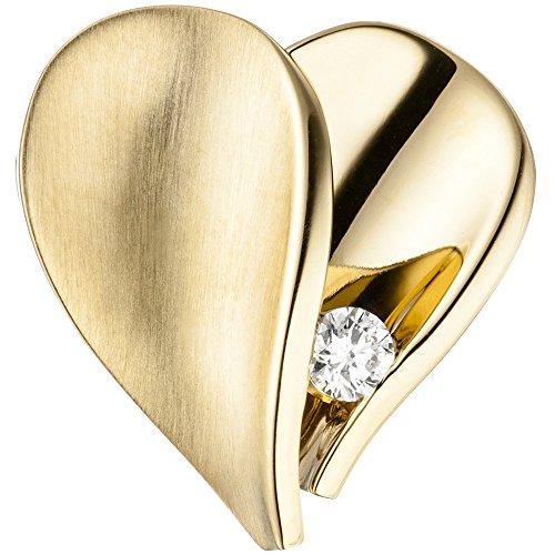 JOBO Anhänger Herz 585 Gold Gelbgold mattiert 1 Diamant Brillant Herzanhänger