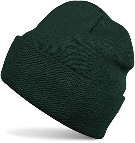 styleBREAKER Unisex warme Beanie Strickmütze, Feinstrick Mütze doppelt gestrickt, Winter 04024029, Farbe:Dunkelgrün