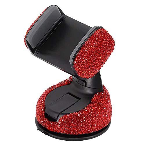 KABIOU Bling Crystal - Soporte universal para teléfono de coche, soporte para rejilla de ventilación, soporte para teléfono móvil en coche, color rojo