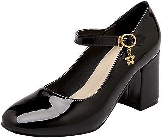 [KITTCATT] キラキラ靴 エナメルパンプス メリージェーン 靴 スクエアトゥ パンプス 通勤靴レディース ハイヒール 太いヒール 歩きやすい 防水レディース靴