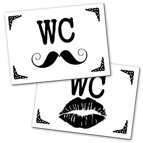 2 Stück WC Schild Toilettenschild Klo Schild schwarz weiß LIPPEN SCHNAUZER Frauen + Männer 14,8 x 10,5 cm inkl. Klebepunkte Aluminium Verbundplatte für Büro Gastronomie Hotel …