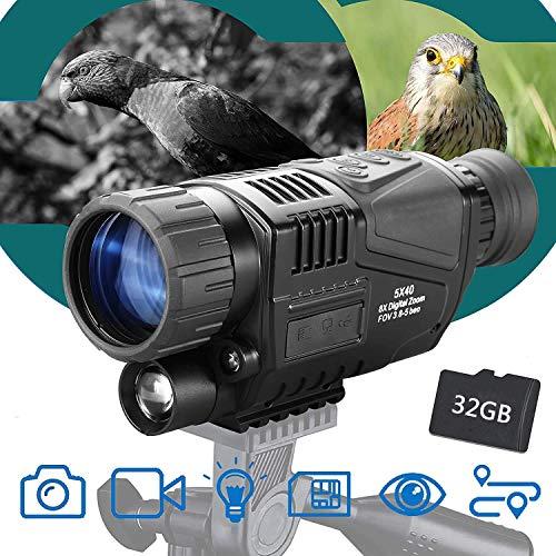 AMITD Nachtsichtgerät Jagd Milit?r Infrarot, 5X40 Nachtsicht IR Digital Monokular 8X Vergrößerung mit 1,5-Zoll-TFT-LCD Nehmen Sie Fotos und Videos auf