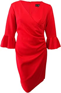 Betsy& Adam Womens Plus Wrap Bell-Sleeves Scuba Dress Red 16W