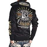 (バンソン) VANSON メットスカル 刺繍プリント ジャージ ボリュームネック トラックジャケット NVSZ-904-BLACK (M, ブラック)
