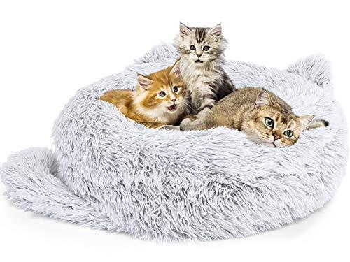Pecute Cama para Perro y Gatos Suave Camas Relajantes para Perros Pequeños 55cm de Diámetro Cama Calmante para Gato con Cojín Cojines para perreras Suave y Cómodo Antideslizante (L)