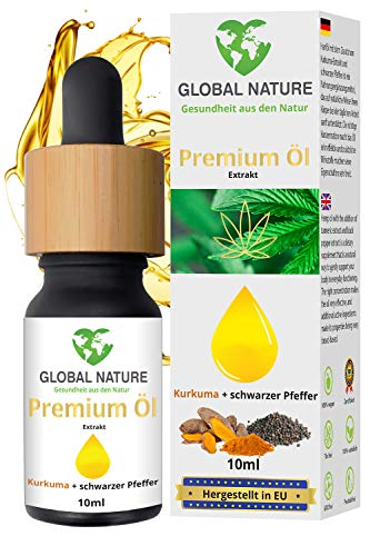 Global Natureon Premium Hemp Oil Drops 10ml I Turmeric-Extract & Piperine I Vegan & Vegetarian Friendly I Rich in Omega 3-6-9 and Vitamins I Made in EU