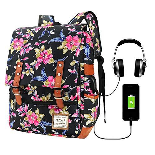 Floral School Bag Backpack for Girls, College Bags 15.6inch Laptop Backpacks Computer Rucksack for Women Ladies