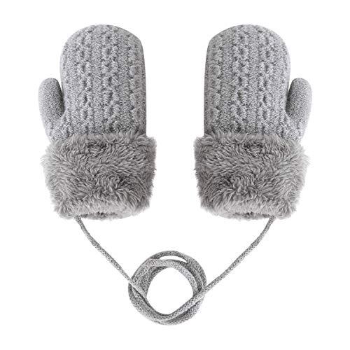 Kinder Doppel Strickhandschuhe Fäustlinge aus Wolle Fausthandschuh Halshandschuhe Plüsch Winterhandschuhe für 1-4 Jahre Kinder